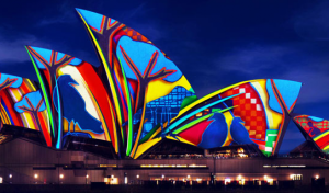 Vivid sydney light spectacular from The Rocks Amazing Races vantage