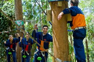 Amazing Races experience high tree tops adventure ropes courses as challenge checkpoints