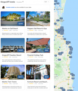 Kingscliff-amazing-hotels race for accommodation bookings with trip advisor or google